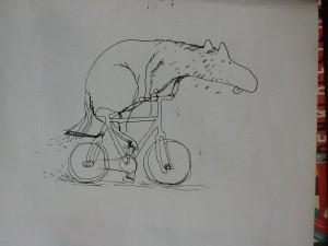 Forlæggeren demonstrerer, at det ikke er svært at tegne en cykel; Christoffer Zieler, at han sagtens kan tegne heste.